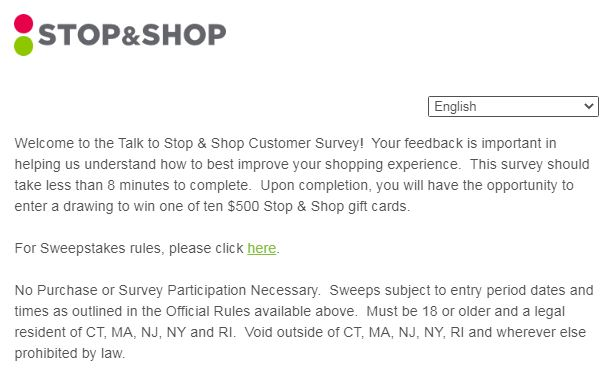 Stop and Shop Survey Webpage 1