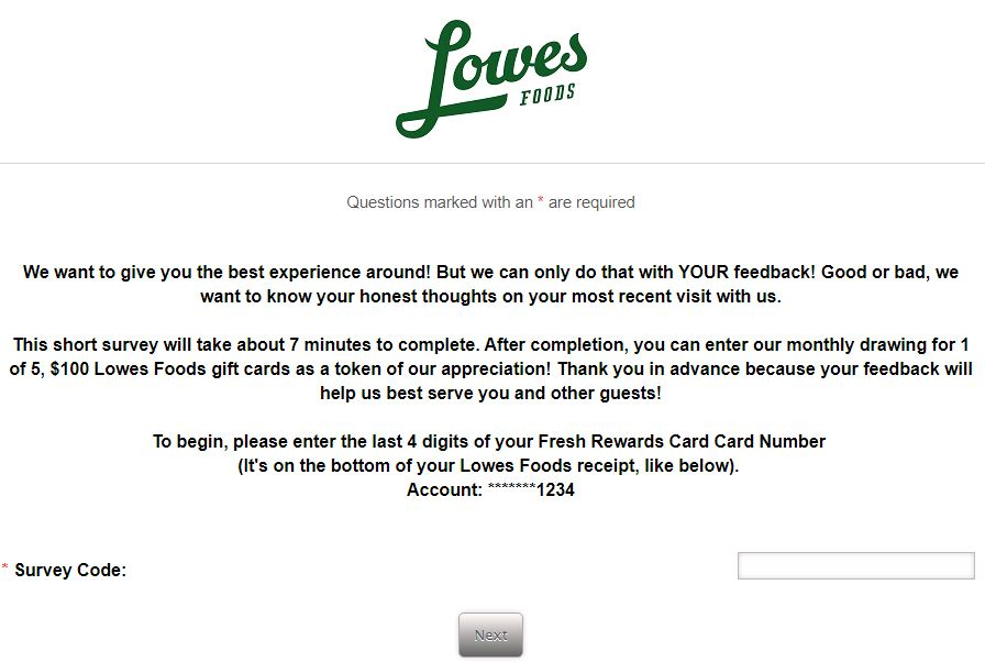 Lowes Foods Experience Survey